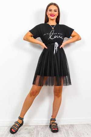 With Love - Black Mesh Dress