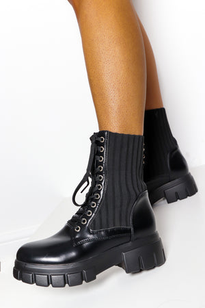 Work It - Black Lace Up Boot