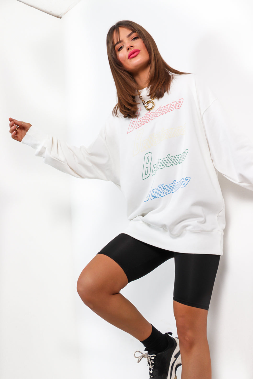 Worlds Apart- White Slogan Jumper