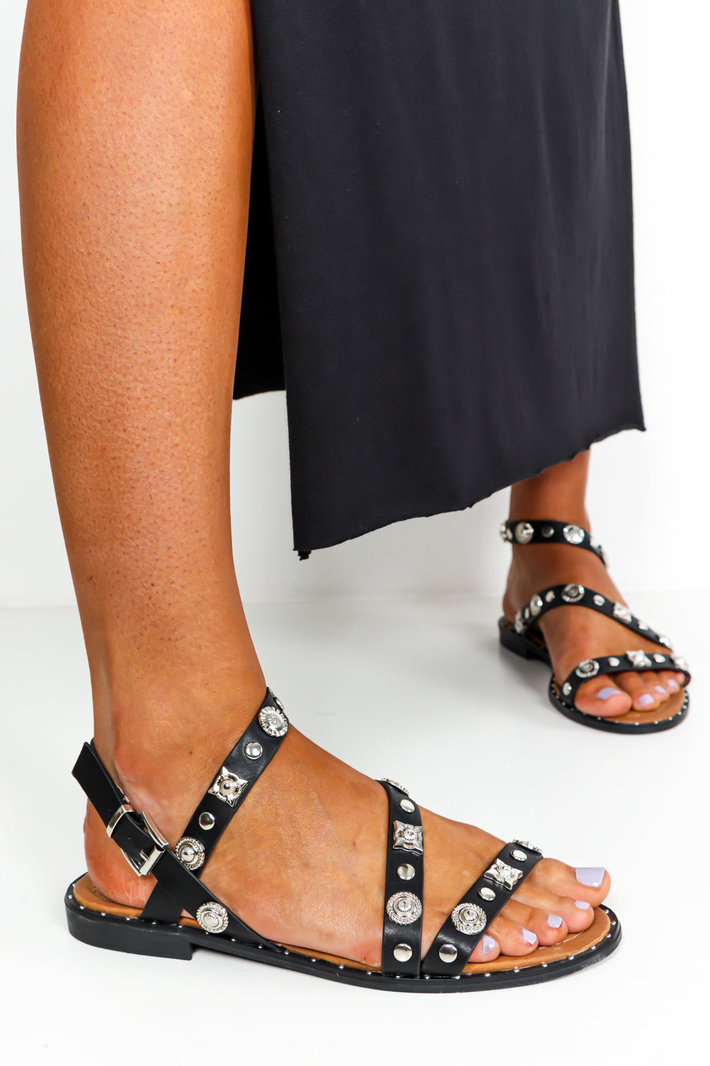 Black Silver Stud Strappy Sandals DLSB Womens Fashion