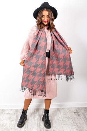 Wrap It Up - Pink Grey Houndstooth Print Scarf