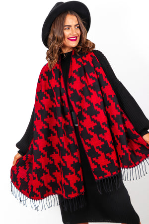 Wrap It Up - Red Black Houndstooth Print Scarf