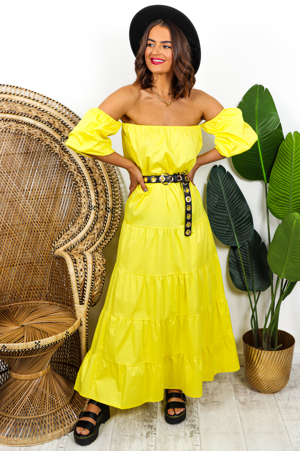 Yellow Tiered Maxi Dress DLSB Womens Fashion