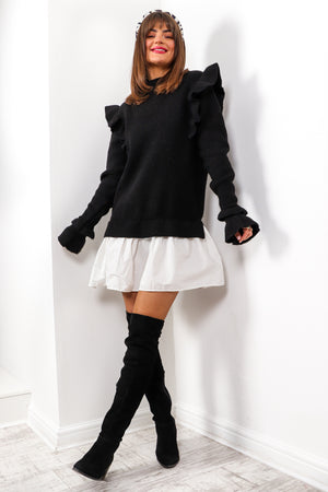 You Frill Be Missed - Black Frilled Knitted Jumper Dress