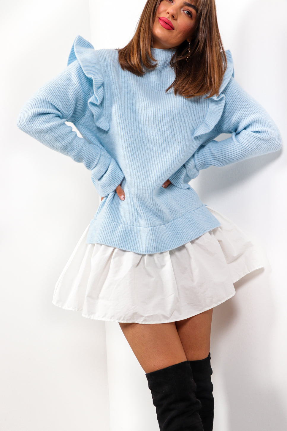 You Frill Be Missed - Blue Frilled Knitted Jumper Dress