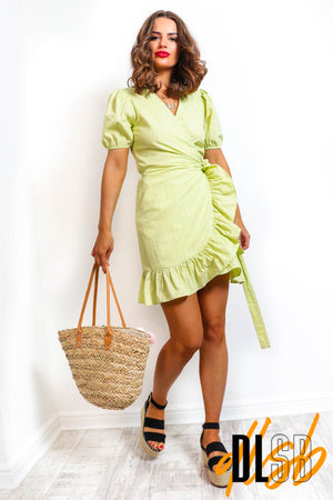 You're Being Frilly - Green Mini Wrap Dress
