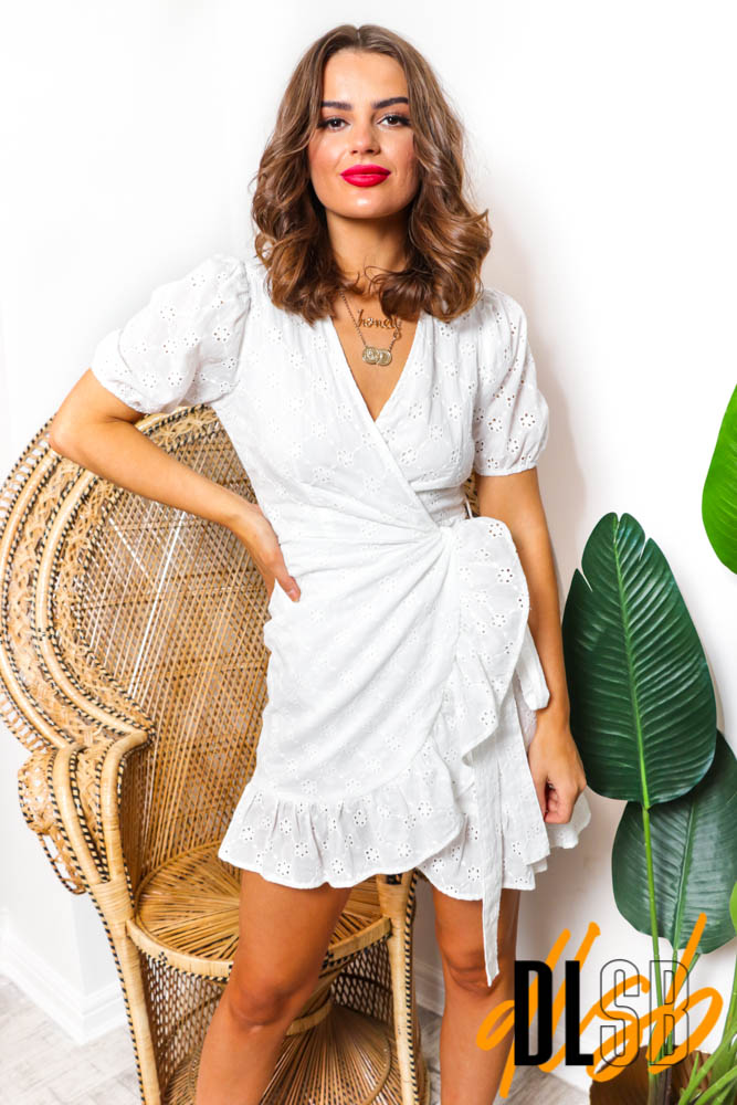 You're Being Frilly - White Broderie Mini Wrap Dress
