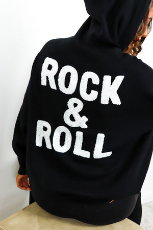 You're My Rock - Black Rock And Roll Slogan Knitted Hoodie