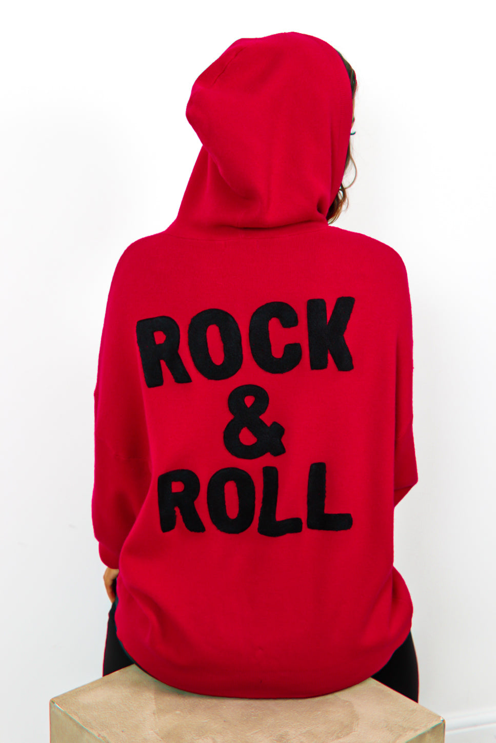 You're My Rock - Red Rock And Roll Slogan Knitted Hoodie