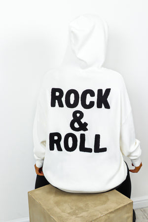 You're My Rock - White Rock And Roll Slogan Knitted Hoodie