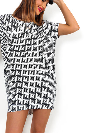 Here's The Tee - T-shirt Dress In WHITE/GRECIAN