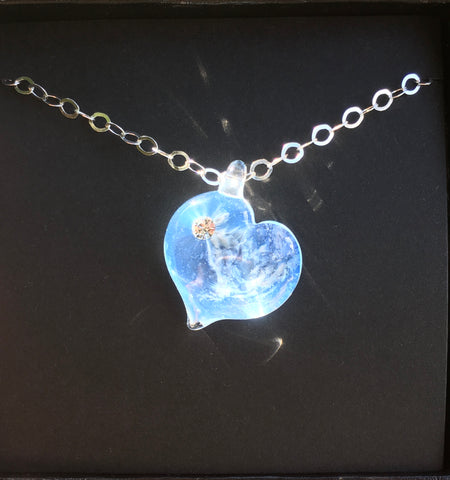 Forever Love Memorial Glass Heart Pendant