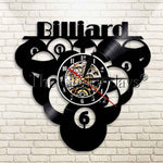 Billiards Ball Pool Design Vinyl Clock Record Time Clock Sport Theme Vintage Home Decor Wall Clock Snooker Wall Art