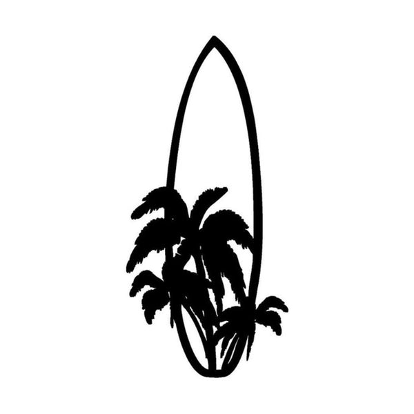 7.1*15.2CM Stylish Surfboard Surfing Car Stickers Cartoon Motorcycle Vinyl Decals Black/Silver C7-1398