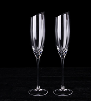 2in1 Crystal Glass Oblique-mouth Champagne Goblet pb-free Wedding Wine Glasses Cups Shot Birthday Christmas Gift Set