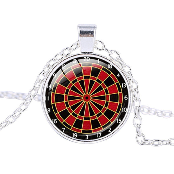 Vintage Dartboard Black Red Necklace Dartboard Jewelry Dartboard Pendant Dart Target Game Necklace Dart Sports Pendant Pingentes