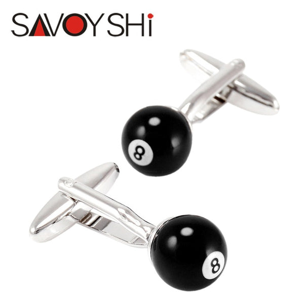 Novelty Billiards Cufflinks for Mens Shirt Cuff Accessories Fashion Black Ball Cufflinks Party Gift SAVOYSHI Brand Jewelry