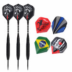 1 set of 3pcs 22g Nickelplated Darts Steel Tip Grooved Alu Shafts 2D Flights