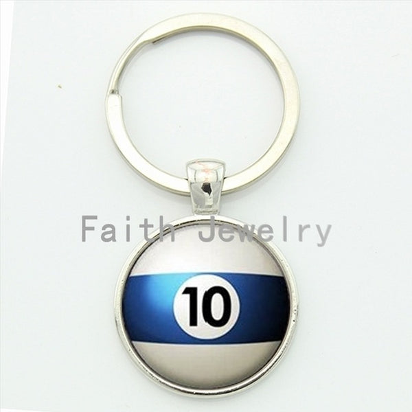 Number 10 Pool key chain Table Tennis sports Billiard Ball 10 keychain  trending men jewelry handmade gift for best man KC470