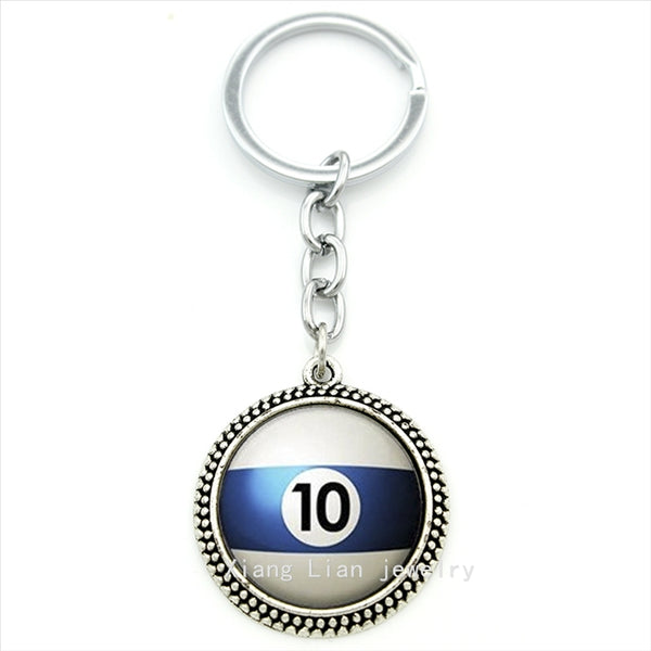 Trendy round Number 10 Pool Billiard Ball keychain white,blue Table Tennis pendant ring jewelry Best man Fathers Day gift T470