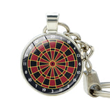 Vintage Dartboard Keychain Dartboard Jewelry Key Chain Dart Target Game Keychains Dart Sports Key Holder