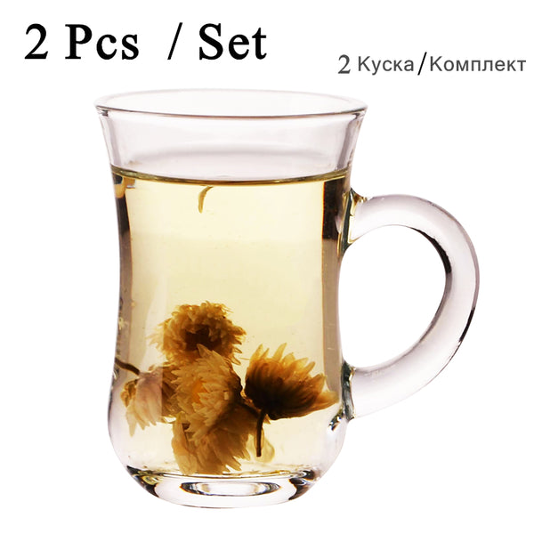 2 Pcs / Set Glass tea water cup drinking ware Cup Home Office Coffee Milk Turkey flower glasses tea cups Mug for Gift