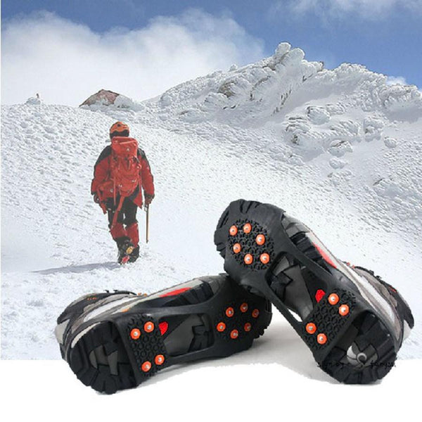1pair outdoor Tools Walking Cleat Ice Gripper Anti Slip Ice Snow Walking Shoe Spike Grip Camping Climb Ice Crampon Ice#YL