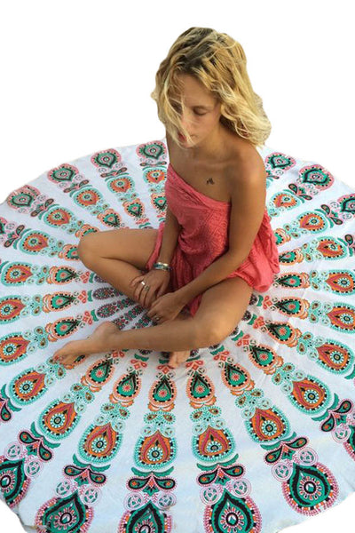 Peacock Print White Boho Beach Blanket