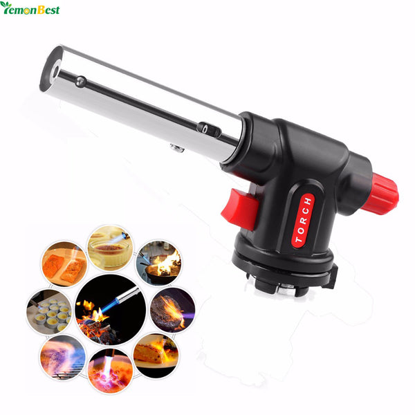 Multi-function Culinary Torch Auto Ignition Flamethrower Butane Burner Gas Torch for Camping Welding BBQ