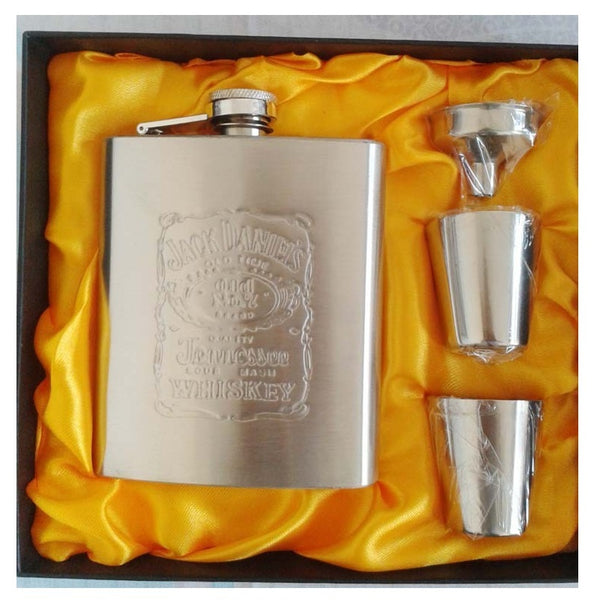 Free Shipping Stainless Steel Hip Flask Flasks for Liquor Gift Set with Bonus Funnel & Shot Glasses & Gift Box(251)