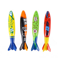 4pcs Diving Toy for Pool Use Gliding Shark Throwing Torpedo Underwater Swimming Pool Shark Toys