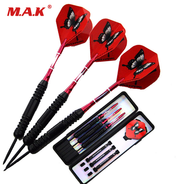 High Quality 3pcs New Arrivals Steel Tip and Red/Black Shaft Darts with Red Butterfly Dart Flight for Traditional Targets