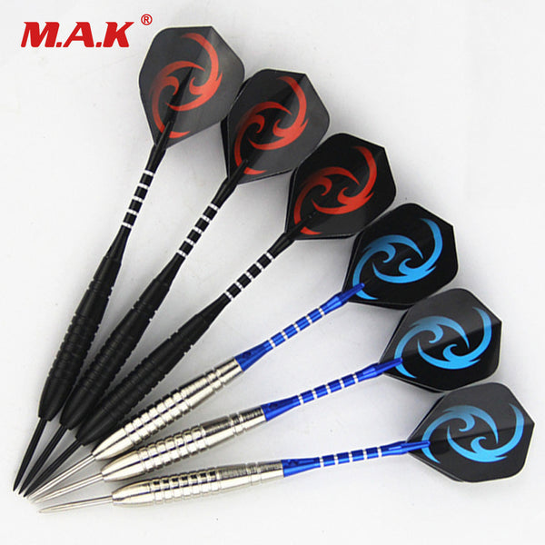 High Quality 6pcs Professional Straight Dart White/Black Models with Iron Barrel for Indoor Sports Game