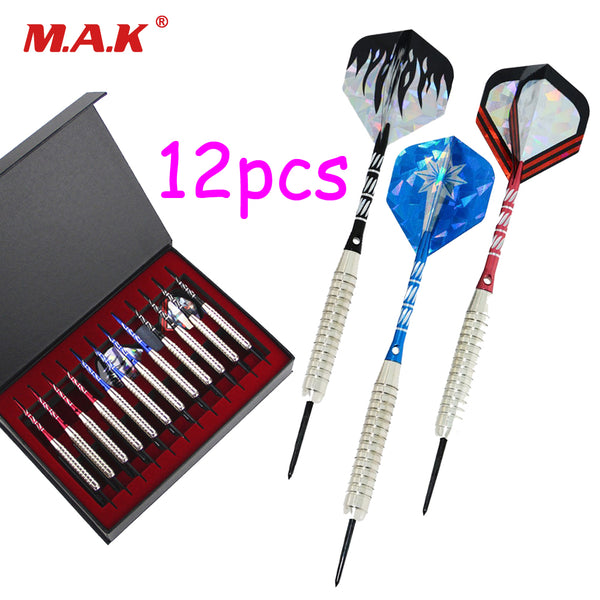 High Quality 12pcs Professional Straight Darts Steel Tip Darts with Aluminum Pole Darts Iron Dart for Indoor Outdoor Game