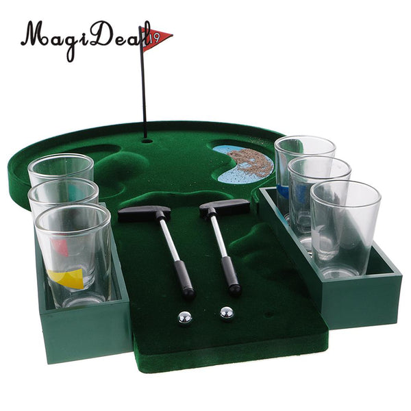 MagiDeal Novelty 1 Set Mini Table Golf Drinking Game Set With Shot Glasses for Family Party Cafe Bar Club Wine Game Gift Green