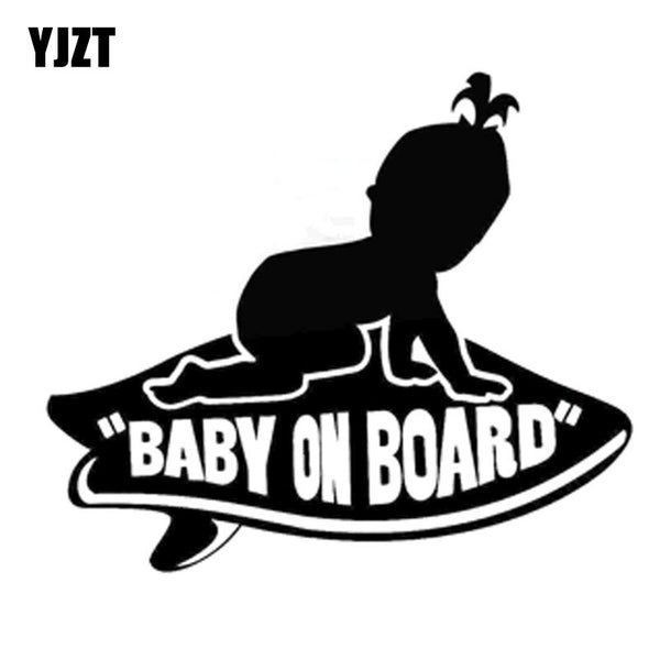 YJZT 17.8CM*15.2CM Baby GIRL on Board Vans Surfboard Vinyl Decal Sticker Black/Silver C10-00043