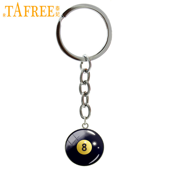 TAFREE Number 8 Billiard Ball image key chains eight ball billiards Pool keychain fashion casual sports jewelry fans gifts B1156