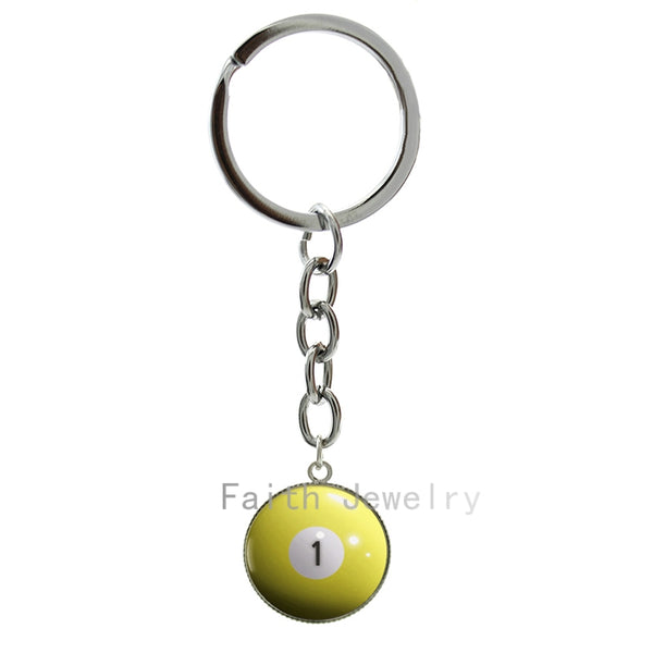 Billiard Ball art picture glass cabochon dome key chain personalized number 1 billiard ball keychain Billiards Pool jewelry 1300
