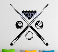 "Billiard Wall Sticker Snooker Sports Game Vinyl Decal Dorm Club Home Interior Decor Art Mural H63cm x W57cm/25"" x 22.5"""