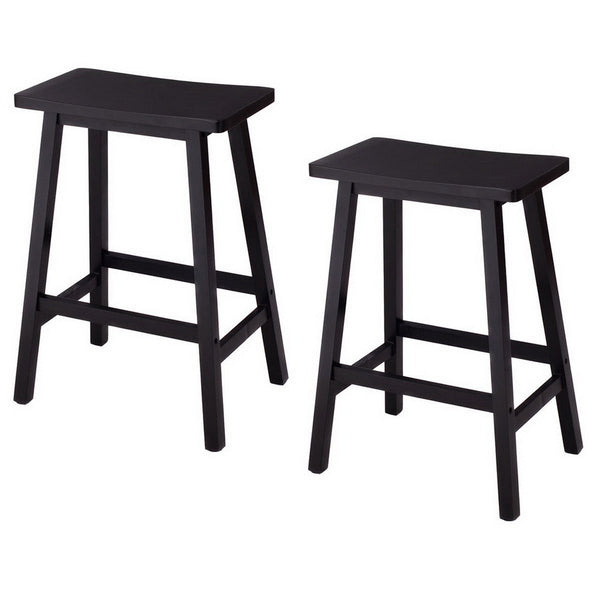 Home Furniture Wooden Bar stools Dining Room Kitchen Saddle Seat Chair Set Of 2