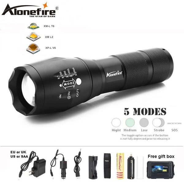 AloneFire E17 led flashlight XML T6 lantern Waterproof Zoom UltraBright Tactical Torch light linterna 18650 Rechargeable battery