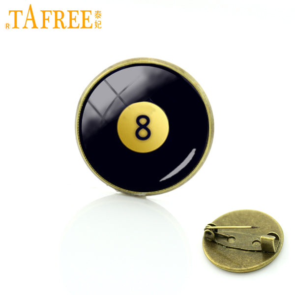 TAFREE Number Eight Billiard Ball Brooches Pins Trendy Vintage Glass Cabochon Brooches Pins Badge For Leisure Mens Jewelry T564