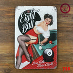 [ Mike86 ] The Eight Ball Billiards Sports Metal Painting Pub Decoration Vintage Wall Tin Sign 20*30 CM