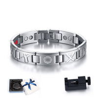 Gents Golf Clubs and Ball Marker Magnetic Therapy Bracelet Stainless Steel 4 IN 1 Bio Elements Energy Bangle Male Jewelry 8.5""