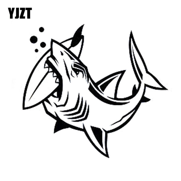 YJZT 16.4cm*15cm Individualized Shark Bites Surfboard FISH Vinyl Car-styling Car Sticker Decals Black Silver C11-0127