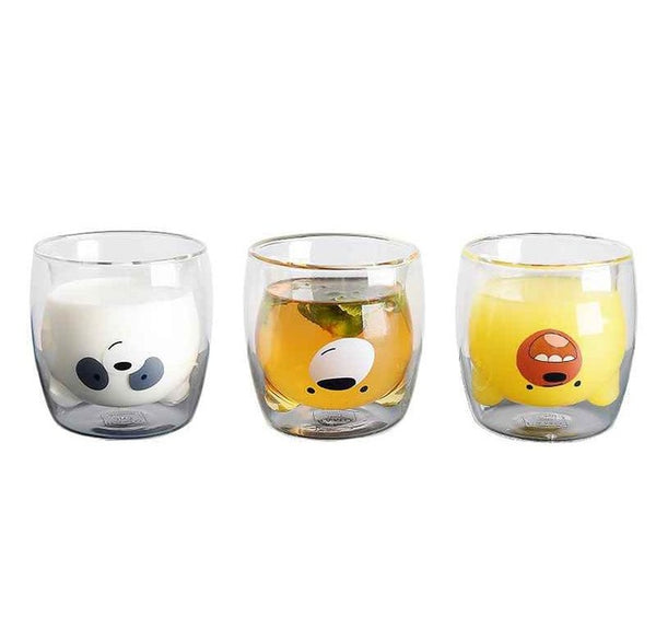 Lovely Panda Double Wall Glass Cup 260ml Bear Beer Glasses Creative Morning Milk Glass Juice Glass Heat Resistant Mug Shot Glass