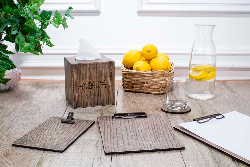 Farm House Wooden Menu and Tissue Box