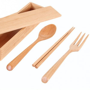 Portable Japanise Style Cutlery Set Western Natural Wooden Dinnerware With Wooden Storage Box Travel Dinner Tableware Set