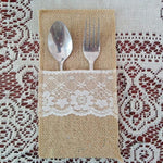 New 5 Pcs Eco friendly Cutlery Pocket Knife and Fork Burlap Lace Tableware Bag for Wedding Decor