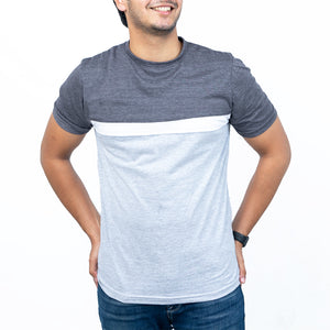 Charcoal, White And Grey Panel Contrast Tee